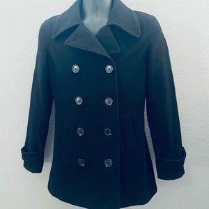 GAP Classic Black Wool Pea Coat - Size: S